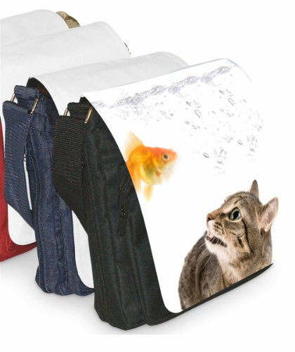 Design / Motiv Schultertasche Venedig Katze + Fisch