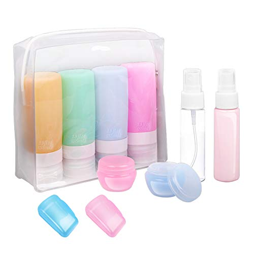 Travel Bottles, TSA Approved Silicone Travel Size Containers Leak Proof Toiletries Travel Accessories Refillable Cosmetic Containers Set with Toiletry Bag for Shampoo Lotion Conditioner 10 Pack