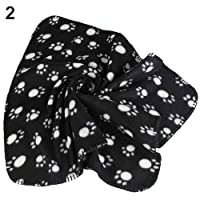 guohanfsh Fashion Pet Cat Kitten Dog Puppy Winter Blanket Warm Beds Mat Cover Soft Fleece Paw Print Black