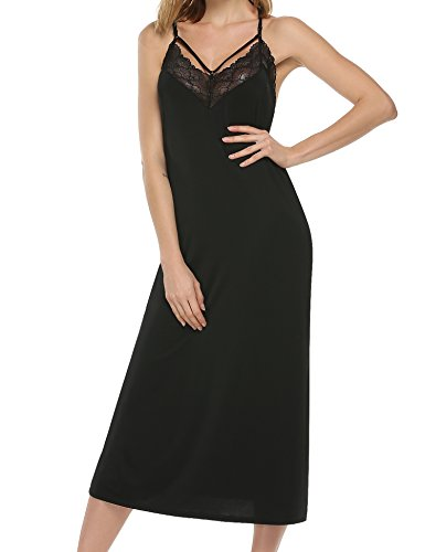 (Ekouaer Women's Charmeuse Sexy Slip Full Length Gown lace trim strappy detail)
