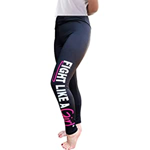 d52ba8268275ce Fight Like a Girl Leggings w/Wide Tummy-Tucking Waistband, Soft, Exercise