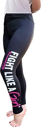 Fight Like a Girl Leggings w/Wide Tummy-Tucking Waistband, Soft, Exercise Yoga Pants