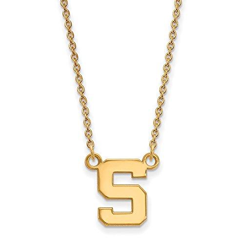 Roy Rose Jewelry 10K Yellow Gold LogoArt Michigan State University Small Pendant Necklace - Michigan State University Seal