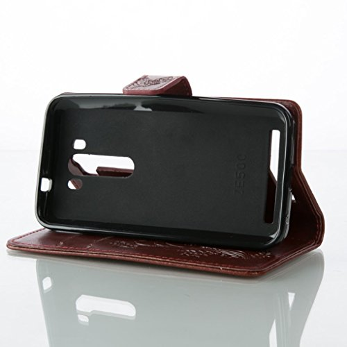 Trumpshop Smartphone Carcasa Funda Protección para ASUS ZenFone 2 (5.5,ZE551ML/ZE550ML) + Rojo + PU Cuer Caja Protector con Función de Soporte Ranuras para Tarjetas Choque Absorción Marrón