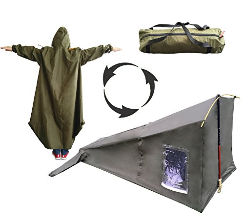 Coat Tent (SEWEI Single 1 Person Tent Raincoat Tent Trekking Pole 4 Season Freestanding for Camping Backpacking Tent)