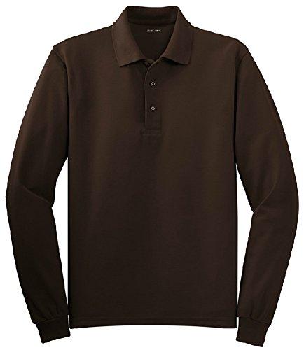 Joe's USA(tm) - Mens Big Size 3X-Large Long Sleeve Polo Shirts in 10 Colors,Coffee Bean,Regular 3X-Large (50-53) (Mens 3x Long Sleeve Polo Shirts)