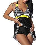 KaloryWee Summer Tankini Sets for Women Tummy Control Swimwear Beachwear Halter Top & High Waist Bottom Two Piece Bikini Sets Swimming Costume Plus Size Swimsuit Black