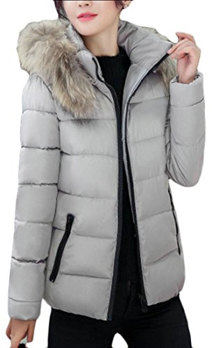 Thick amp;S Short amp;W Fur Solid Outwear Gery Winter Hooded M Coat Faux Women's Parkas vgZqxdqf