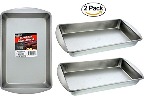 2 Brownie & Biscuit Rectangle Baking Pans. Stainless Steel Oven Pan. Dishwasher Safe