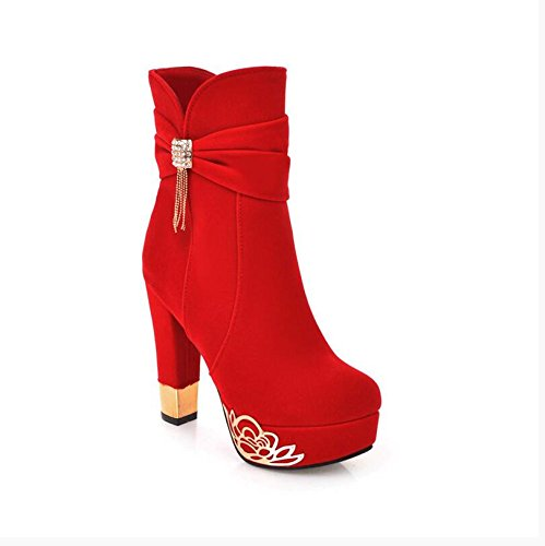 HGTYU-11Cm Short Boots Female Boots Waterproof Taiwan Thick With Ultra High With Sexy Red Wedding Shoes Bridal Shoes Zipper Water Drilling Martin Boots Red kWH3pyp