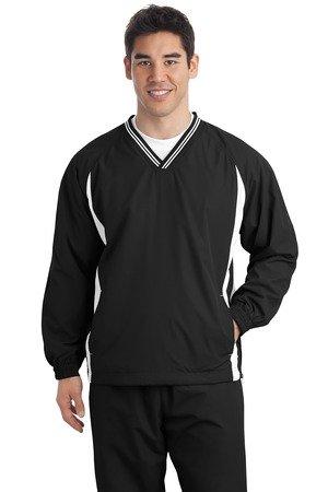 - Sport-Tek Men's Tipped V Neck Raglan Wind Shirt XXL Black/White