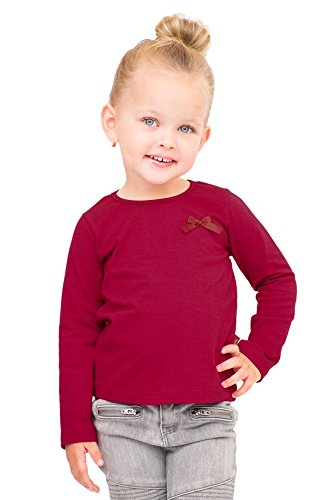 Price comparison product image Pulla Bulla Toddler Girls' Long Sleeve Shirt Classic Tee Size 4T Cherry