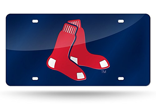 Boston Red Sox License Plate (Rico Boston Red Sox Official MLB 12 inch x 6 inch Laser Cut License Plate by 138691)