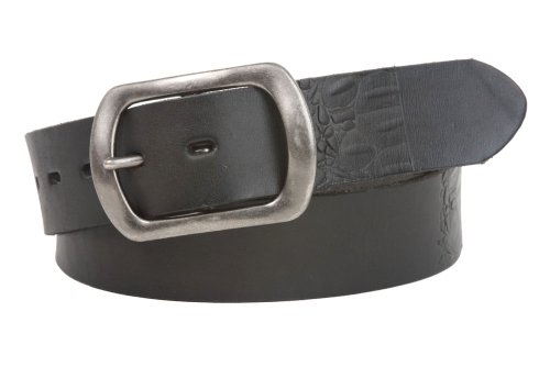 Snap On Oval Soft Hand Vintage Cowhide Embossed Leather Casual Belt Size: 36 Color: Black