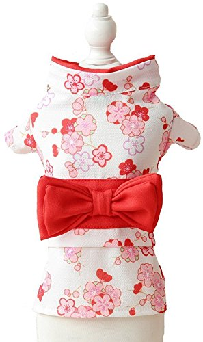 MaruPet Brocade Japanese Kimono for Girl Floral Pet Halloween Costume Bowknot Dog Dress for Small, Extra Small Dog Wiener Dog Teddy, Pug, Chihuahua, Shih Tzu, Yorkshire Terriers, Papillon White -