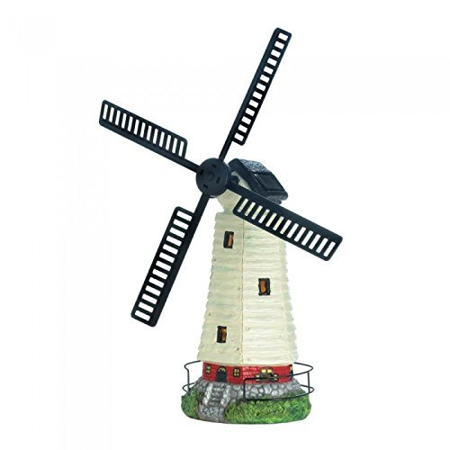 Zings & Thingz 57074114 Solar-Powered Light-Up Windmill Lighthouse Garden Statue, Multi Color