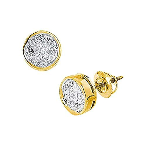 (Womens Princess Diamond Invisible-set Circle Screwback Stud Earrings 1/2-Carat tw, in 14K Yellow Gold from Roy Rose Jewelry)