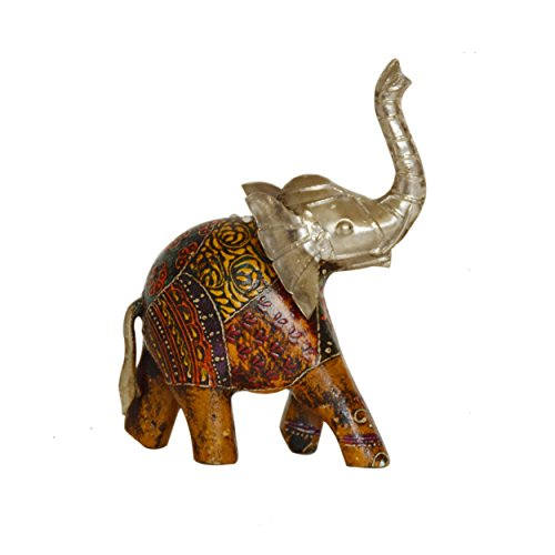 Wooden Artistic Elephant (indiacolors Metal and Wood Fusion Textile print Up trunk Elephant Figurine/statue - Lucky, Feng Shui, Artistic, Auspicious, Decorative, Handcrafted for Home & Office Décor and Gift for all seasons)