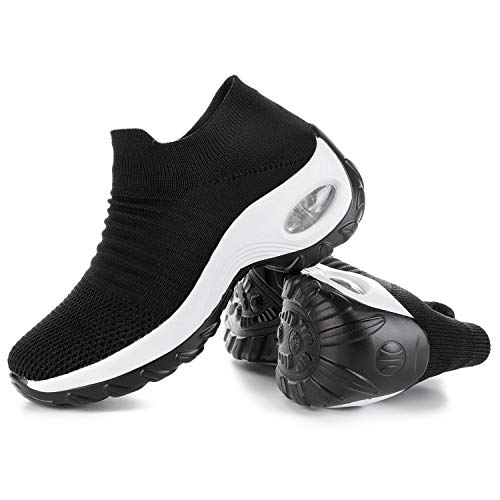 JOINFREE Womens Platform Walking Shoes Wide Walking Sneakers Air Cushioned Sports Shoes Black White 7.5 M US