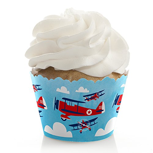 (Taking Flight - Airplane - Vintage Plane Baby Shower or Birthday Party Decorations - Party Cupcake Wrappers - Set of)