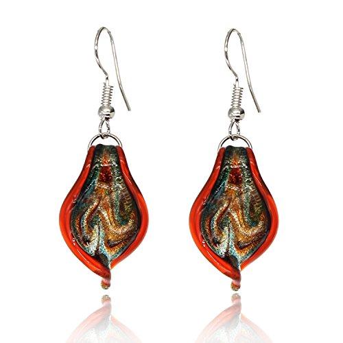 Bleek2sheek Murano-inspired Glass Twisted Leaf Dangle (Murano Glass Necklace Earrings)