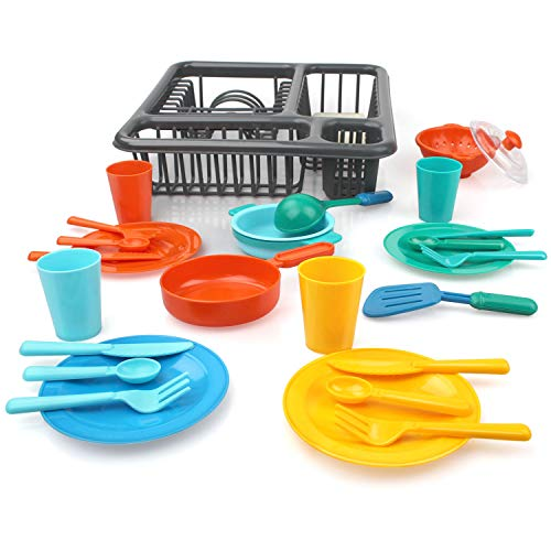 GrowthPic Pretend Play Kitchen Set for Kids, Kitchen Toys Tableware Dishes Playset with Drainer (27 Pcs )