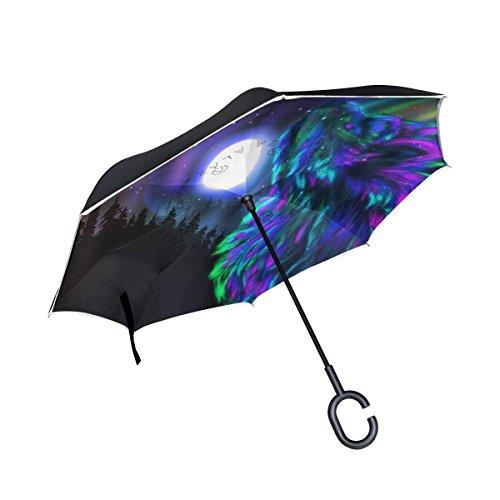 Ladninag Wolf Moon Mountain Sky Inverted Umbrella  Large Double Layer Outdoor Rain Sun Car Reversible Umbrella