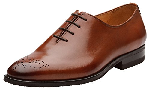 (Dapper Shoes Co. Handcrafted Genuine Leather Men's Classic Wholecut Oxford Shoes Dark)