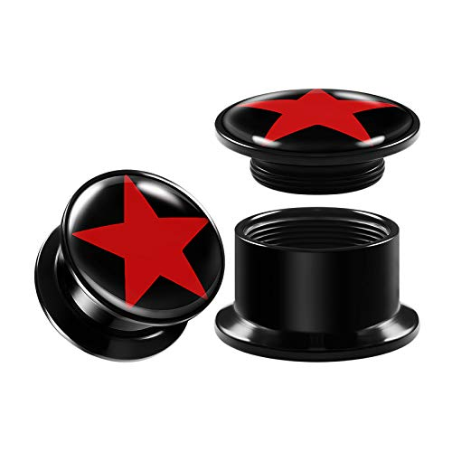 Pair of Internally Threaded Black Acrylic Gauges 12 mm Double Flared Red Star Piercing Jewelry Earring Plugs Stretcher BG7530
