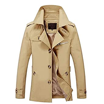 5836eabc390 Image Unavailable. Image not available for. Color  EbuyChX Men Solid Casual  Style Plus Sizes Trench Coat ...