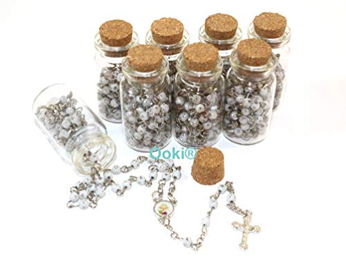 12 pcs IHS Jesus Cup Rosary in Glass Jar Bottle Beads Pink Beaded Rosary Recuerdos De Bautizo Silver Catholic Crucifix Necklace Party Favor Baptism
