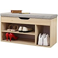 Soges Shoe Bench with Storage Box Shoe Rack Bench Rack Hall Rack, Grey M018-GY