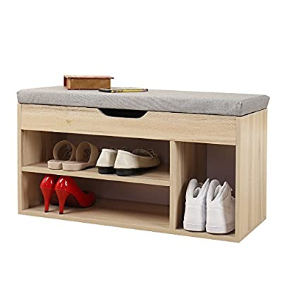 """Soges Shoe Bench with Storage Box Shoe Rack Bench Rack Hall Rack, Grey M018-GY - Overall size:31.5""""L*11.8""""W *17.7""""H; the right size for the entry way. Thickened laminated wood construction holds up to 200Lbs (static load capacity), sponge padded seat, sturdy & cozy bench for sitting. Each tier can storage 2-3 pairs shoes, the right side can hold boots. - entryway-furniture-decor, entryway-laundry-room, benches - 41qELa5L4PL. SS400  -"""