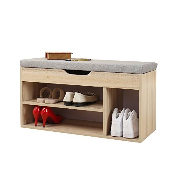 Soges Shoe Bench With Storage Box Shoe Rack Bench Rack Hall Rack, Grey M018