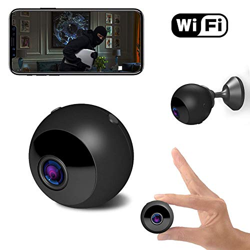 Mini Spy Camera Wireless Hidden Camera, 1080P FHD Portable Small Spy Cam WIFI with Superior Night Vision Motion Detection,150 Wide Angle Nanny Cam for Home Office Security, Indoor Video Recorder-Black