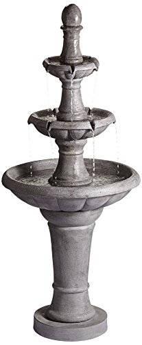 Gray faux stone, synthetic fountain.