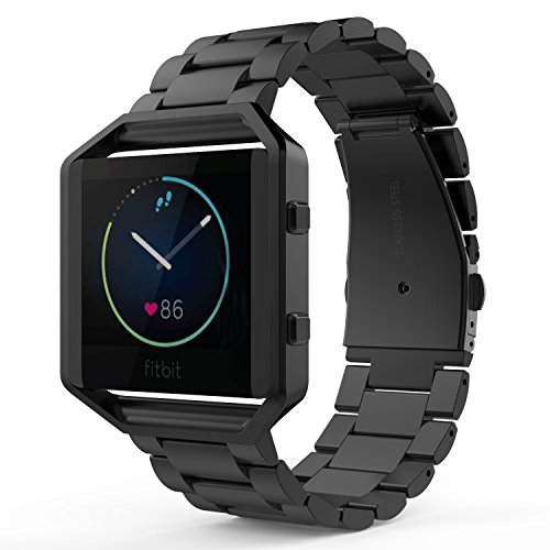 MoKo Fitbit Blaze Band, Universal Stainless Steel Watch Band Strap Bracelet with Spring Pin for Fitbit Blaze Smart Fitness Watch, Frame NOT Included - Black
