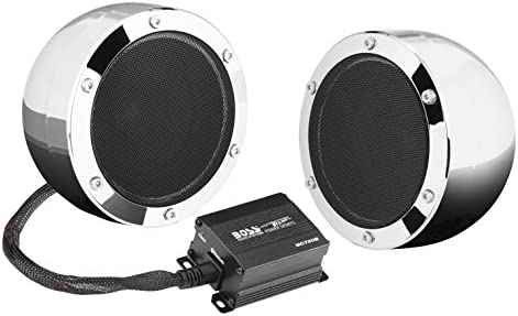 BOSS Audio Systems MC720B Motorcycle Speaker System – Bluetooth, Weatherproof Speakers Amplifier, 4 Inch Speakers, 2 Channel Amplifier, Volume Control, Great for ATVs and 12 Volt Vehicles