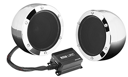 BOSS Audio MC720B Bluetooth, Weatherproof Speaker And Amplifier Sound System, Two 4 Inch Speakers, Bluetooth Amplifier, Inline Volume Control, Ideal For Motorcycles/ATV and 12 Volt Applications ()