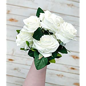 """OOKi-Silk Flower Artificial Flower 17"""" Rolling Rose 10 Stems for Wedding Bouquet Home & Kitchen Decoration (White, 2 Pcs) 41"""