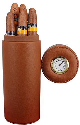 AMANCY Portable Brown Leather Travel Cedar Wood Lined 5 Cigar Humidor with Humidifier