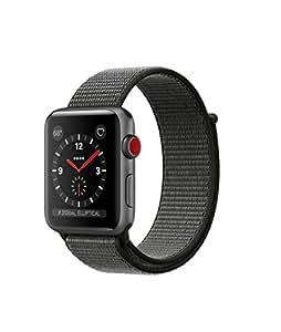 Apple watch series 3 Aluminum case Sport 42mm GPS + Cellular GSM unlocked (Space Gray Aluminum Case with Dark Olive Sport Loop)