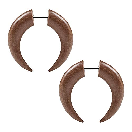 BIG GAUGES Pair of Sawo Wood 16g Gauge 1.2mm Steel Size 6mm Pincher Shaped Fake Piercing Jewelry Cheater Earring Lobe Ear Plugs BG5338