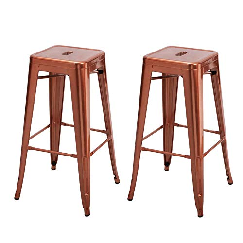 Adeco 30-inch Metal Bar Stools Barstool Tolix Style Industrial Chic Chair Backless, Glossy Indian Red, Set of 2