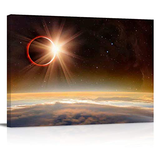 Arts Language Canvas Print Wall Art Total Solar Eclipse in The Universe Picture Painting Modern Giclee Framed Artwork for Livingroom/Bedroom/Bathroom/Office Decor 12x18in