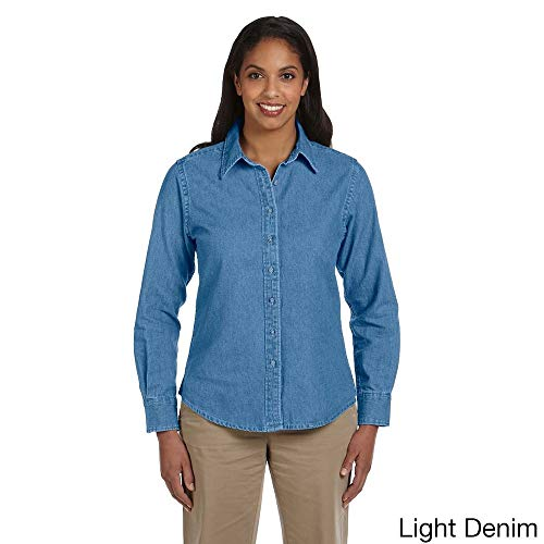 - Harriton Women's Long Sleeve Denim Shirt Light Denim L