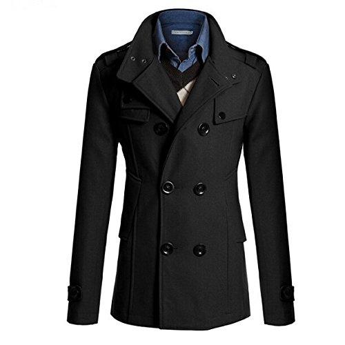 SODIAL(R) Manteau des hommes coupe ajustee longue Hommes hiver chaud double boutonnage Caban Manteau Blouson noir -L