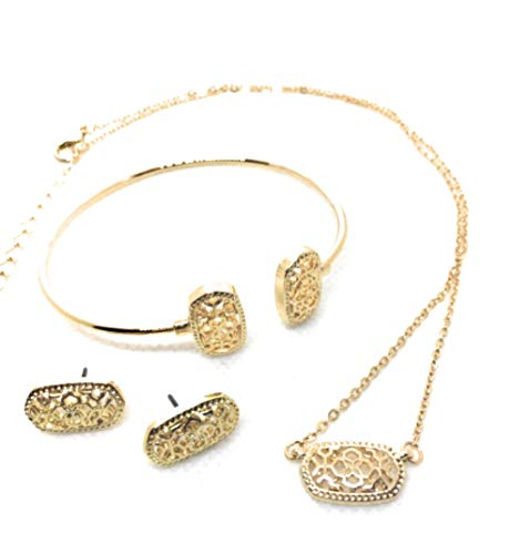 Inspired Fashion Jewelry Metal Filigree Necklace, Earrings and Bracelet- Complete Set (Gold)