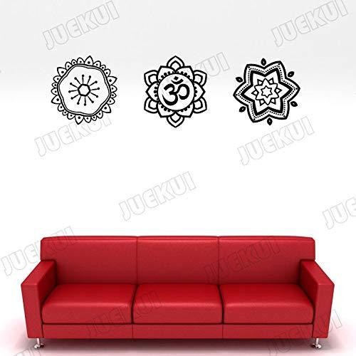 guijiumai 3 Flores de patrón de Mandala Diferentes Pegatinas ...