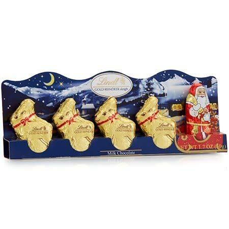 Chocolate Reindeer - Lindt LINDOR Milk Chocolate Holday Figure Santa Claus and Reindeer Hollow, 1.7 oz